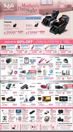 Mother's Day Sale - Panasonic EP-MA10 Massage Chair ONLY $1999.99! Flyer Layout, Massage Chair, Graphic Design, Leaflet Design, Visual Communication