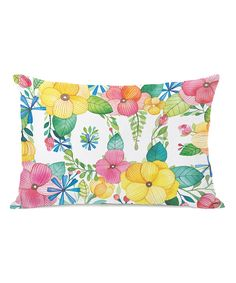 Floral 'Love' Throw Pillow