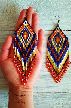 Gift for her beaded native earrings seed bead earrings long