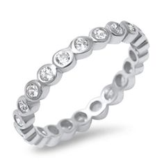 1 Sterling Silver 925 Euro Cubic Zirconia Pod Stackable Band Ring Sizes 6 7 8 9