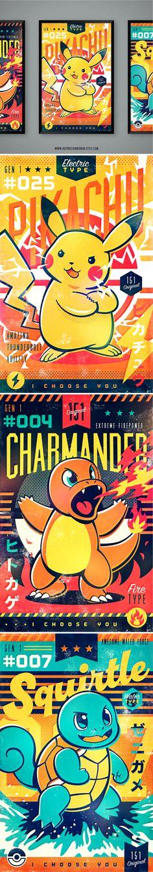 Retro Vintage 1st Gen Pokemon Posters by HeyRockinRobin on ETSY | Pikachu, Charmander & Squirtle