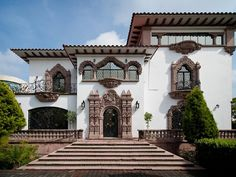 Reforma Mansion  Mexico  Catalogued by the Instituto Nacional de Bellas Artes (The Institute for Fine Arts) in Mexico, this magnificent, historic mansion is uniquely located in the heart of the financial district, in the exclusive area of Lomas de Chapultepec in Mexico City.  Originally constructed in 1890, this grand residence distinctively resembles an old California Mission. According to history, construction stopped on the mansion with the advent of the Mexican Revolution.