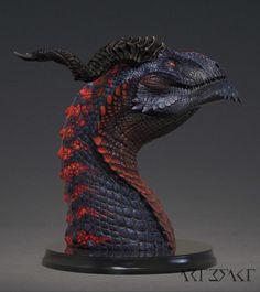 Ssathraz - Dragon Bust,by Winton Afric Creature 3d, Creature Design, Fantasy Creatures, Mythical Creatures, Sculpture Art, Sculptures, Realistic Dragon, Fantasy Wizard, Dragon Artwork