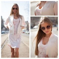 #magentafashion #streetfashion #street #fashion #look #ootd #outfit #women #womenfashion #bomber #bomberjacket #jeans #denim #top #hot #love Magenta, White Dress, Ootd, Outfit, Spring, Jeans, Dresses, Fashion, Outfits