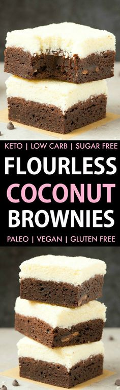 Healthy Vegan Coconut Brownies (Keto Low Carb Paleo Gluten Free)- A thick fudgy flourless brownie base topped with an addictive layer of thick coconut crack! Made with no eggs and no sugar they are the best healthy dessert! Sugar Free Desserts, Low Carb Desserts, Gluten Free Desserts, Vegan Desserts, Low Carb Recipes, Paleo Dessert, Healthy Dessert Recipes, Atkins, Coconut Brownies