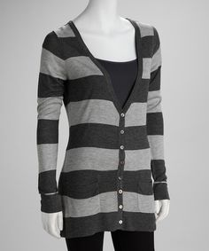 Take a look at this Gray & Charcoal Stripe Cardigan by Apparel Deals on #zulily today!