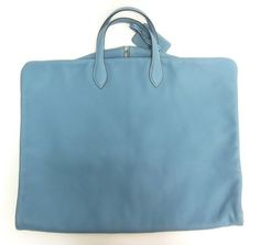Baby blue Hermes luggage garment bag. Talk about travel in style.