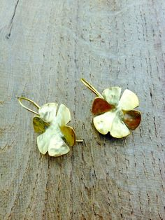Gold-plated clover leaf earrings by StefansJewelry on Etsy