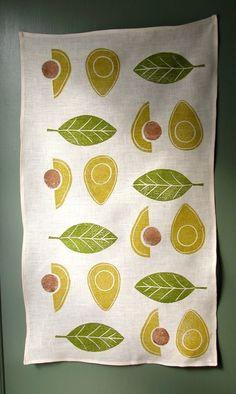 Avocado linen tea towel.  via Etsy.