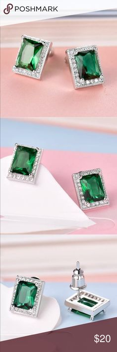 """🤪SALE Princess white sapphire emerald earrings Stunning emerald green and white sapphire princess cut earrings in an everyday wearable size . Approx 1/2"""" . Brand new and they come boxed . (These are GORGEOUS!) Jewelry Earrings"""