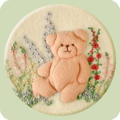 Garden Bear - embroidery for baby blanket • SW