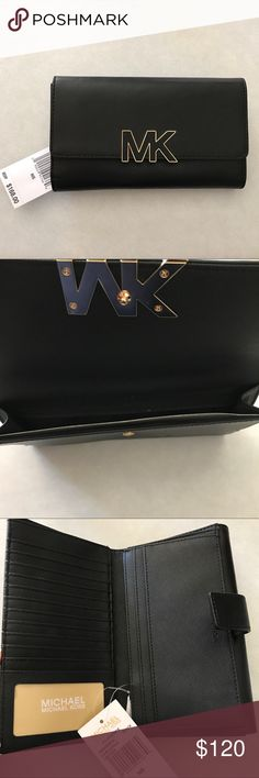 """NWT! Mk large Florence billfold 100% Authentic - Brand new with tags retail $168  Style: 38H6YREF3L    Color: BLACK  • Smooth Leather • Gold tone hardware • MK logo initials on front • Snap flap closure both front & back • Interior front: Full large pocket  • Interior back: 3 Full length bill slots, 2 more large multi-purpose compartments • 1 window ID slot &11 card slots • 1 Zippered compartment for coins • MK signature logo and smooth leather lining • Size: 4.5"""" W x 8"""" H x 1"""" D Michael…"""