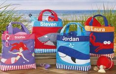 Custom Beach Totes and Bags  Get ready for the beach with fun, personalized beach bags and totes for your kids! Having their very own beach bag will help your child take responsibility of their own stuff.   #picsandpalettes #tote #bag #lilianvernon