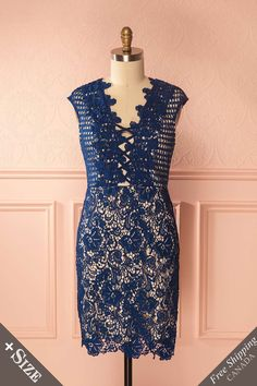 Sareh Water Navy Lace Fitted Plus Size Cocktail Dress | Boutique 1861