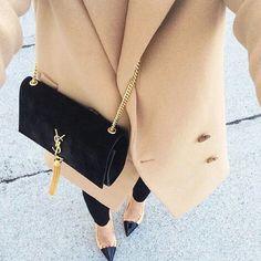 Black, beige and Yves Saint Laurent bag
