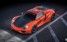 Wallpaper Sports car, artwork, Porsche 918 Widestbody