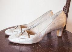 Vintage 1960s Heels - Silver Metallic Pumps Womens Shoes Naturalizer - Sz 10