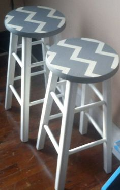 Chevron Bar Stools - Reclaimed and refinished by Alex at Good Wood in Grantville, GA. Like us on Facebook: https://www.facebook.com/GrantvilleGoodWood