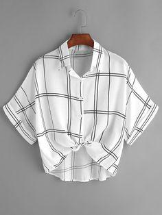 Grid Print Tie Front Cuffed Shirt at SheIn