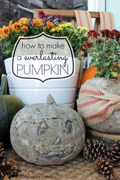 How to:: make a concrete pumpkin! easy, last forever pumpkin decor -- #Pumpkin #diy #Fall #Halloween #decorating