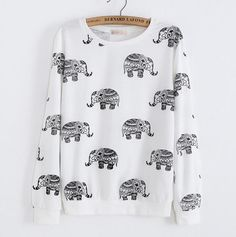"""Item Type: sweater Material: Cotton Sleeve Length: Long Sleeve Collar: round neck Pattern: Elephants Color: Photo Color Size: XS (US size) Bust: 31-33 """", Waist: 23-25"""", Hips: 33-35 """" S (US size) Bust:"""