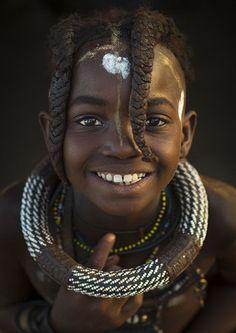 ˚Young Himba Girl With Ethnic Hairstyle, Epupa, Namibia