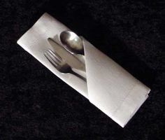 A Basic Silverware Napkin Pouch- saw this in TBay and loved the idea! Works best with cloth napkins as they're larger, but could do paper ones for kids!