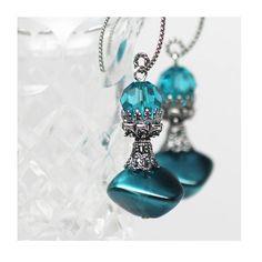 Teal Turquoise Earrings Czech Glass Dangle Drop by ElandraDesigns