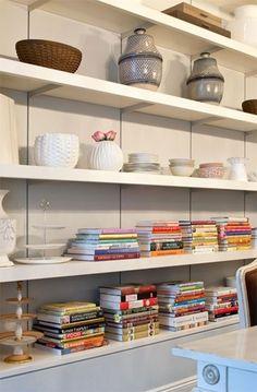 Books on a kitchen shelf