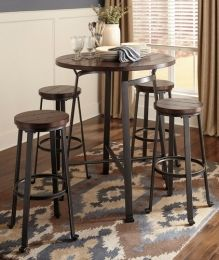 """D30712130(4) Challiman Round Dining Room Bar Table with Four 30"""" Barstools, Adjustable Lever Feet, Tubular Metal and Planked Pine Veneer in Blackened Pewter"""