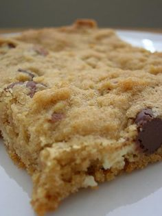 Peanut butter blondies with white chocolate and pecans.
