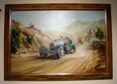 An Original Oil Painting By Dion Pears Of The1926 Targa Florio. Constantine Driving His Bugatti To Victory Followed By An Itala And With Sic...