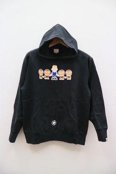 Vintage A BATHING APE Bape Ape Shall Never Kill Apes Black Hoodies Sweater Sweatshirt Size L