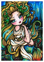"""Atlantis Mermaid"" Lost City of Atlantis mermaid artwork original painting copyright Hannah Lynn 2013 www.HannahLynnArt.com"