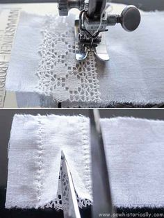6 Ways How To Insert Lace - Heirloom Sewing Tutorial - Sew Historically Sewing Tutorials, Sewing Crafts, Sewing Projects, Sewing Patterns, Bobbin Lace Patterns, Tutorial Sewing, Skirt Patterns, Dress Tutorials, Coat Patterns