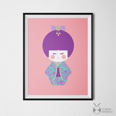 Japanese Kokeshi Doll Prints Purple Pink 11x14 Poster Colorful Art Print Girls Nursery Room Decor Printable Japanese Doll Kokeshi Wall Art