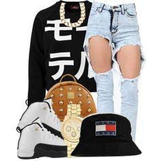 Soto Militia Sweater w/ High Waist Distressed Jeans & Retro Jordans