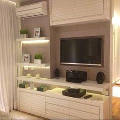 """Inspiração para sala de estar   Painel de TV com prateleiras e LED <span class=""""emoji emoji1f4fa""""></span> Um capricho, hein?! . Projeto ..."""