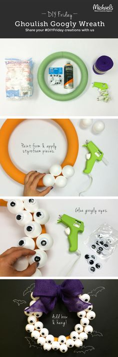DIY Ghoulish Googly Halloween Wreath