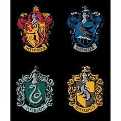 Panel depicting the Gryffindor, Ravenclaw, Hufflepuff, and Slytherin house crests arranged on a black background. Grab your wand and broomstick and head off into the Wizarding World of Harry Potter wi Harry Potter Fabric, Harry Potter Diy, Harry Potter Hogwarts, Casas Estilo Harry Potter, Hogwarts Houses Crests, Beast, Slytherin And Hufflepuff, Harry Potter Collection, Harry Potter Birthday