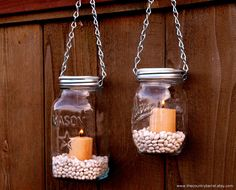 Hanging Mason Jar Garden Lights - DIY Lids Set of 2 Mason Jar Lantern Hangers or Flower Vase Hangers - Silver Chain