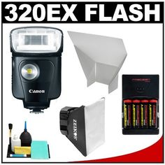 Canon Speedlite 320EX Flash with LED Light with Softbox + Bounce Reflector + (4) Batteries & Charger + Accessory Kit for EOS 7D, 5D, 60D, 50D, Rebel T3, T3i, T2i, T1i, XS Digital SLR Cameras by Canon. $269.95. Kit includes:♦ 1) Canon Speedlite 320EX Flash with LED Light♦ 2) Zeikos Universal Soft Box Flash Diffuser♦ 3) Precision Design Bounce Flash Reflector with Velcro Strips♦ 4) Precision Design (4) 2900mAh AA NiMH Batteries & 110/220V Multi-Voltage Rapid Charger♦ ...