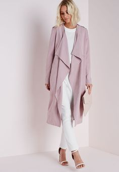 Waterfall Collarless Trench Coat Mauve - Coats and Jackets - Missguided