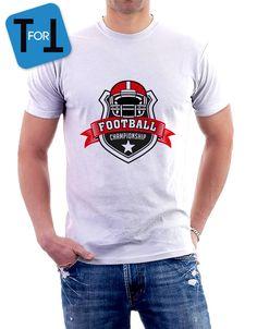 FOOTBALL CHAMPIONSHIP - T-shirt blanc  Homme - sportif ! Tshirt cadeau • American football de la boutique teeFORtea sur Etsy