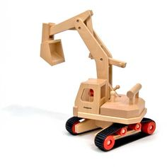 Excavator (Fagus) With an adjustable jib. Made of beechwood, and fastened together with dowels--no screws!