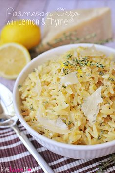 Parmesan Orzo with Lemon and Thyme ~ an easy, delicious summer side dish! | FiveHeartHome.com