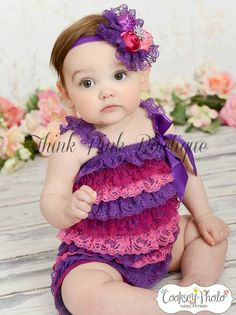 fc47de9230b Baby headband and petti lace romper SET. Petti romper