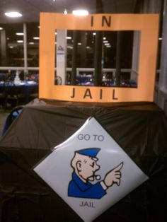 Jail photo area for the Monopoly night party. Wu in ref uniform sending people to jail???