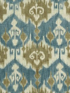 Blue Ikat Fabric by the Yard via Etsy