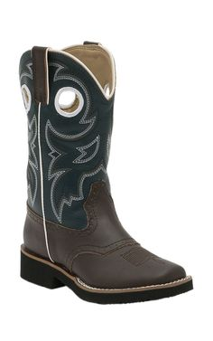 Roper Kids Brown w/ Navy Top Square Toe Western Boots